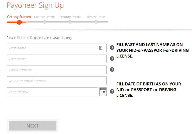 Registration Process of Payoneer master card