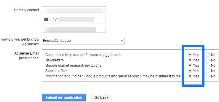 How To Apply For Google Adsense-4th step